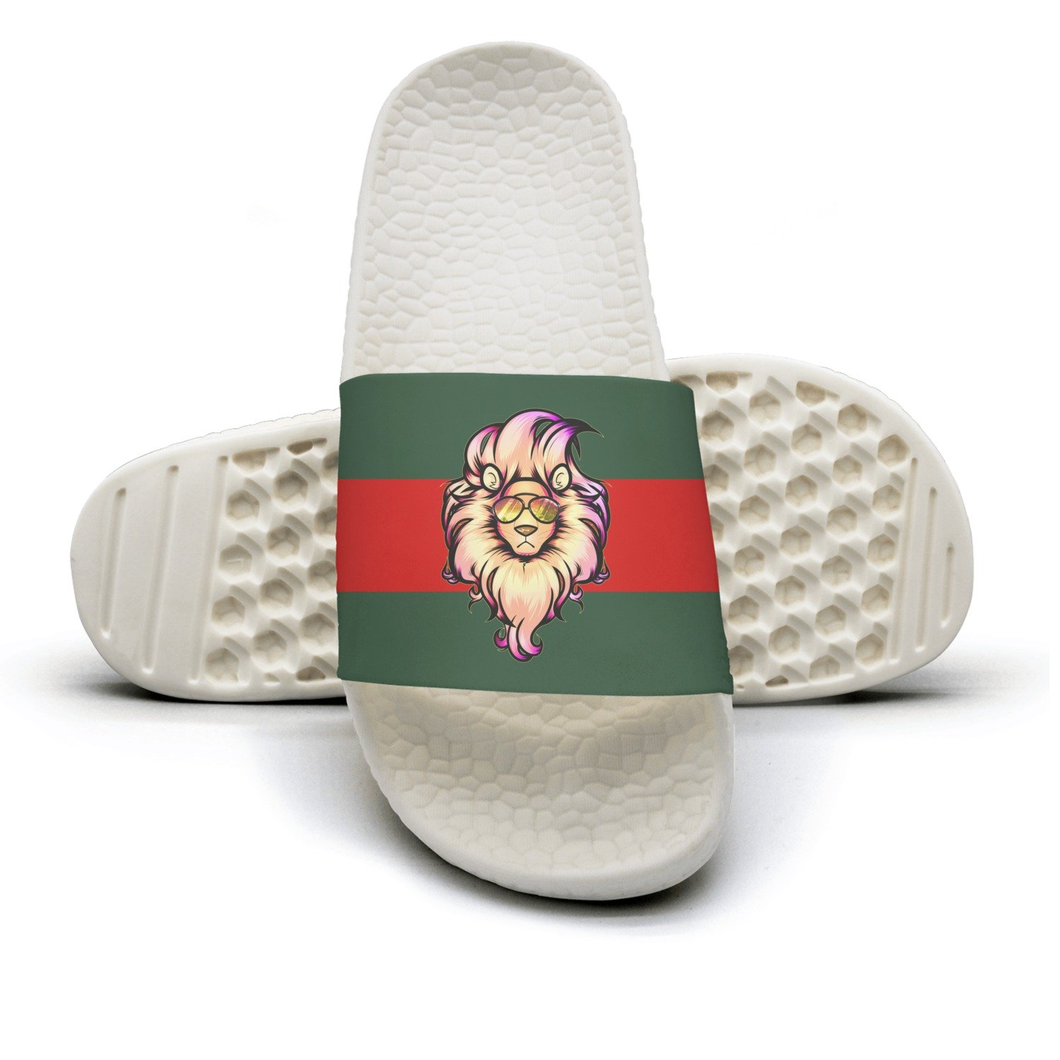 Fashion Pink Wearing Glasses Tiger Unicorn Lady Red And Green Stripe Woman Flat Slipper Sandals Mules Slippers