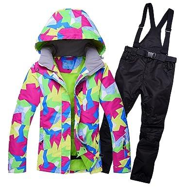 82b0ab21b8 Amazon.com  HOTIAN Womens Ski Jacket Waterproof Colorful Snowboard Snow  Jaket Winter Ski Suits  Clothing
