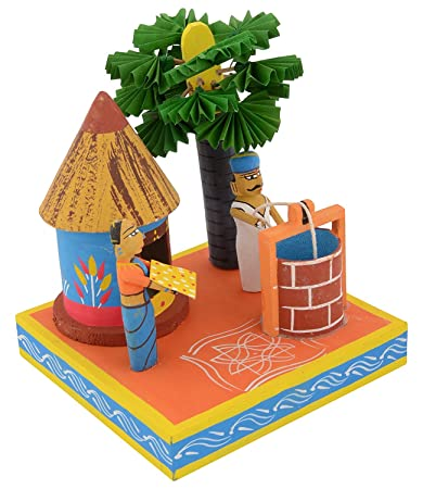 Buy True Facility Kondapalli Handmade Puniki Wood Village Set Up