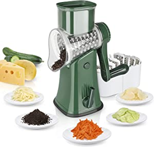 Veook Rotary Cheese Grater, Manual Cheese Shredder with Handle & 4 Sets Blades for Vegetables Fruit, Multi-Function Kitchen Grater, Hand-Safe Food Processor, Easy to Clean (Green)