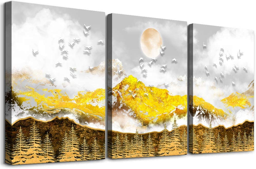Canvas Wall art Decor Living Room golden Mountain and sun woods artworks family Wall Art for Bedroom farmhouse Bathroom wall painting wall decorations for kitchen 3 Panels Large Modern office decor