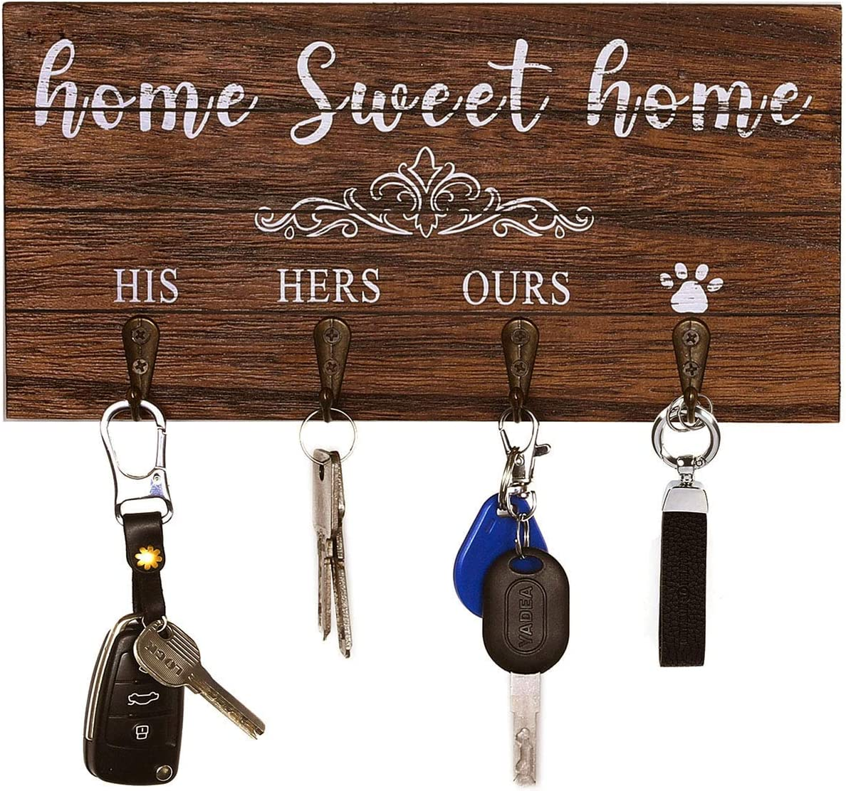 Home Sweet Home Key Holder for Wall Decorative with 4 Key Hooks, Rustic Home Decor Key Hangers for Wall Entryway, Key Rack with His Her Ours Paws Signs