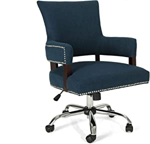 Christopher Knight Home Mayy Home Office Chair, Navy Blue + Chrome