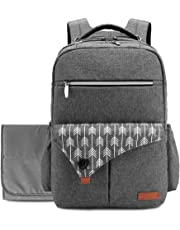 Lekebaby Diaper Bag Backpack Large Baby Bag for Mom and Dad with Changing Pad in Grey, Arrow Print