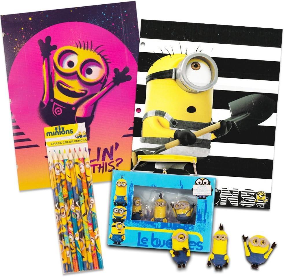 Paquete de Suministros Escolares de Minions de Despicable Me – Juego de borradores, Carpetas, Cuaderno y lápices: Amazon.es: Juguetes y juegos