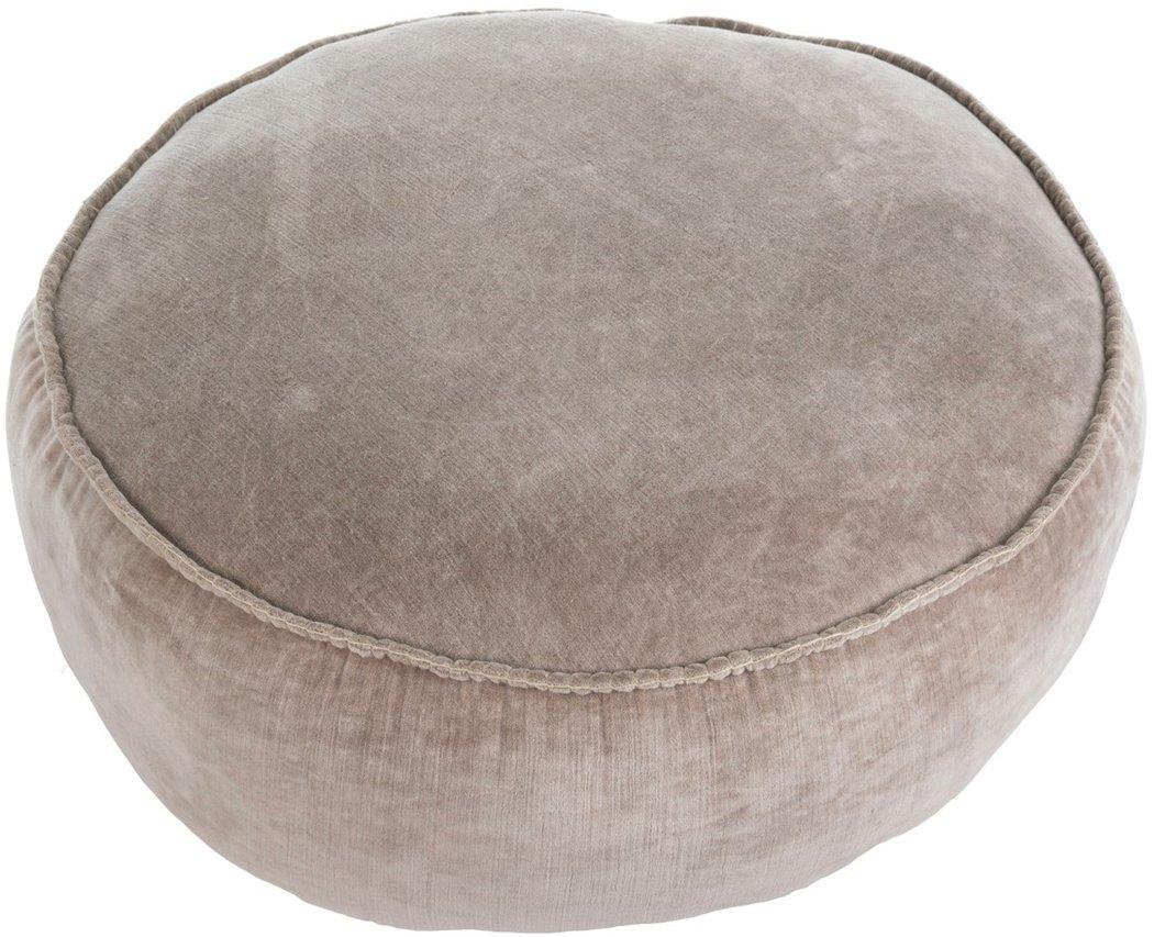 Indaba Taupe Velvet Stitch Pouf Floor Pillow