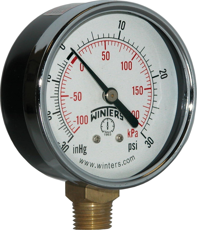 "Winters PEM Series Steel Dual Scale Economical All Purpose Pressure Gauge with Brass Internals, 30 Hg Vacuum-0-30 psi/kpa, 2-1/2"" Dial Display, +/-3-2-3% Accuracy, 1/4"" NPT Bottom Mount"