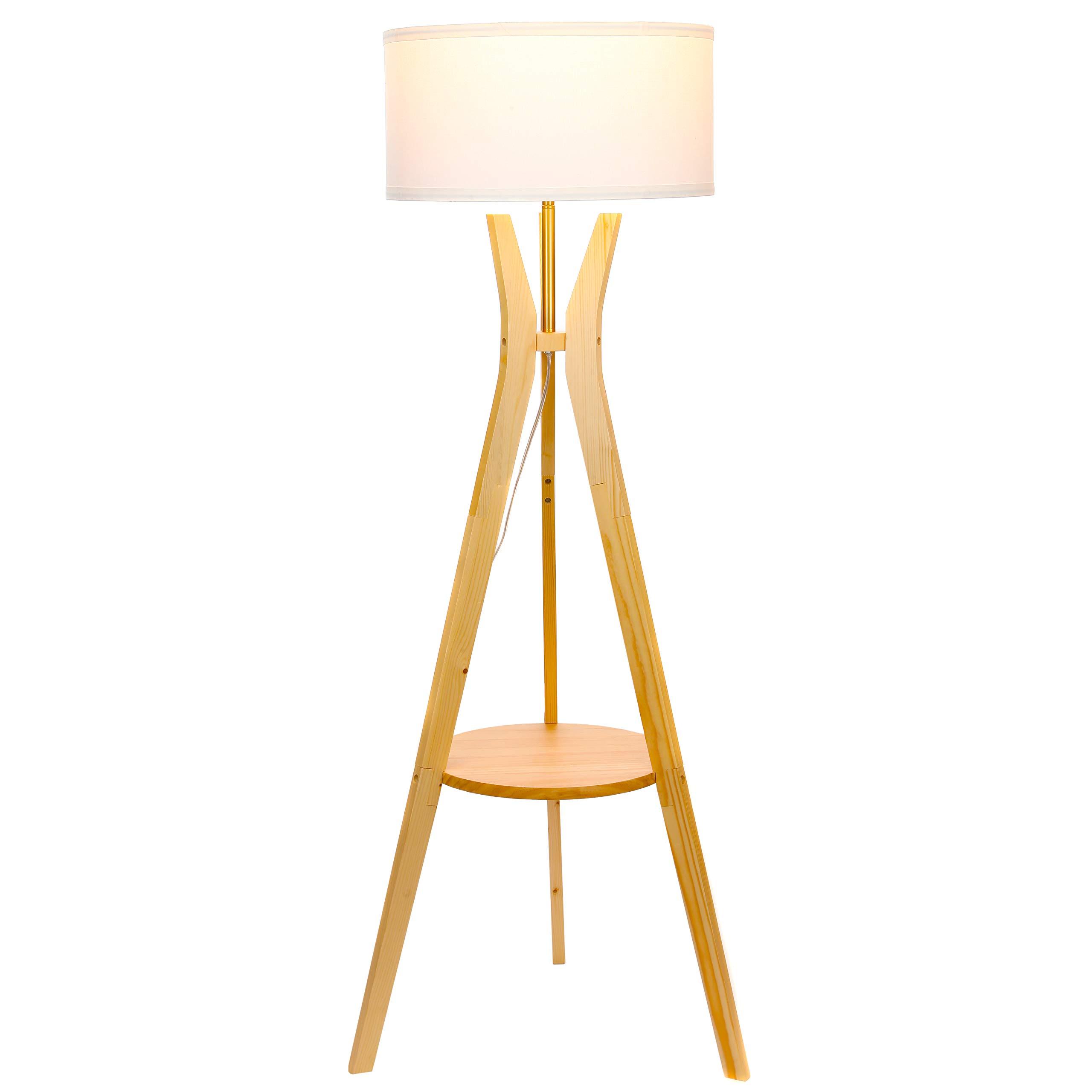 Brightech Charlotte LED Tripod Floor Lamp- Modern Design Standing Light with Shelf for Living Room, Bedrooms, Office, Den, Dorm- Classic Drum Shade – Natural Wood