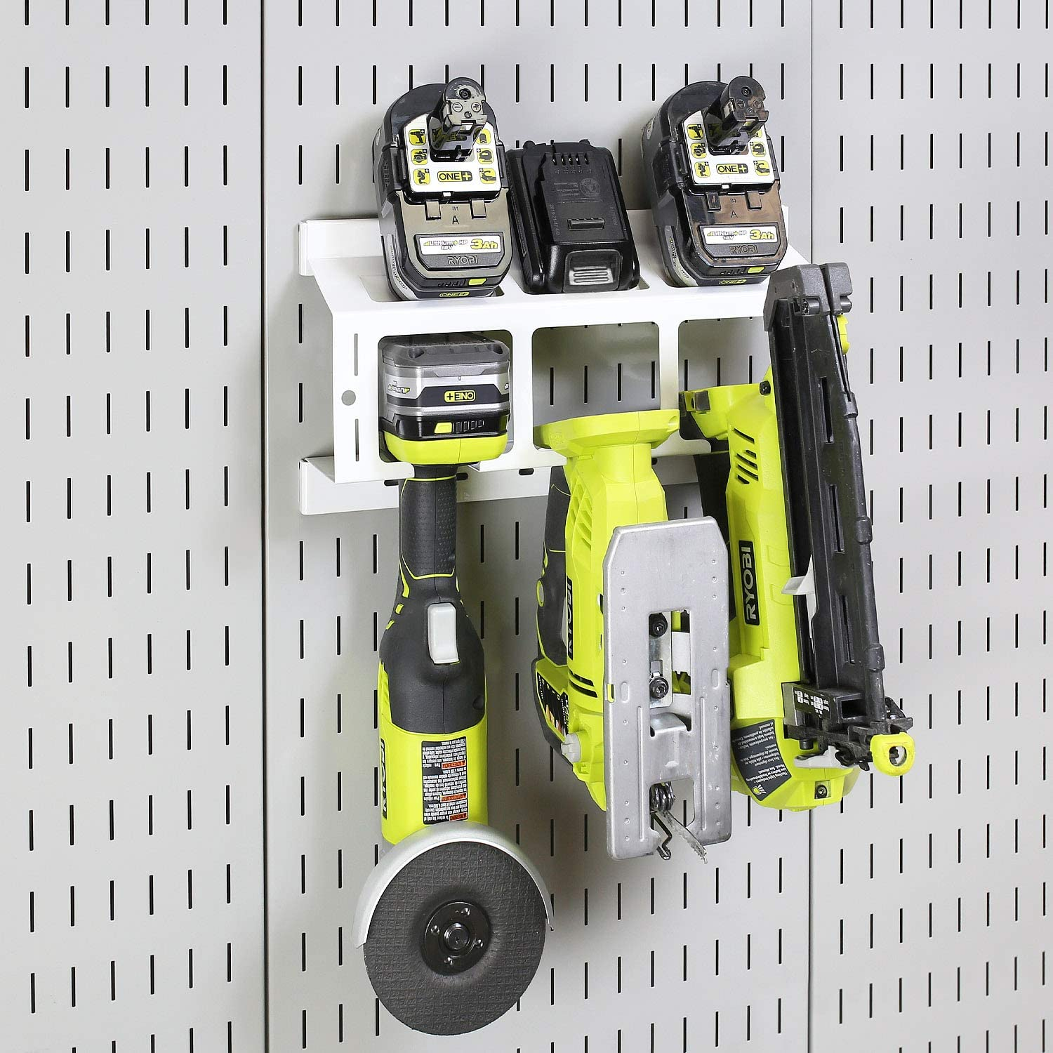 Compact Impact Drill Battery Power Tool Pegboard Organizer for Wall Control Pegboard Wall Control Drill Holder Power Tool Storage Rack Black