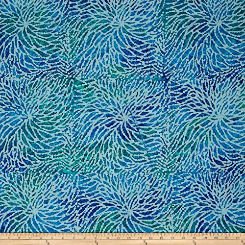 Textile Creations Sarasota Spray Batiks Blue/Green Fabric by The Yard ()