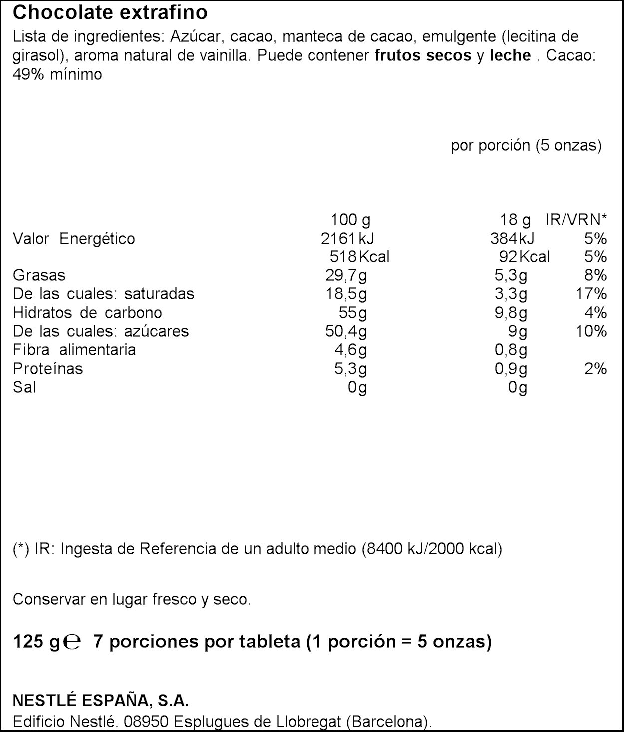 Nestlé Extrafino Tableta de Chocolate Negro - 125 g: Amazon.es: Amazon Pantry