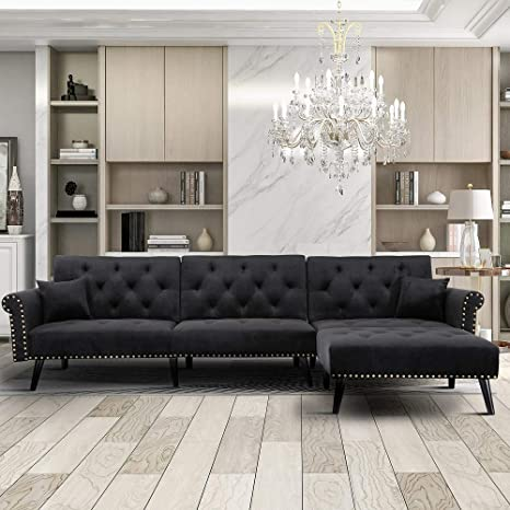 Amazon.com: Rhomtree Sectional Sofa Couch With Lounge Chairs Velvet Convertible Sofa Bed With Adjustable Back Day Bed Nailhead Trim Living Room Furniture (Black): Kitchen & Dining