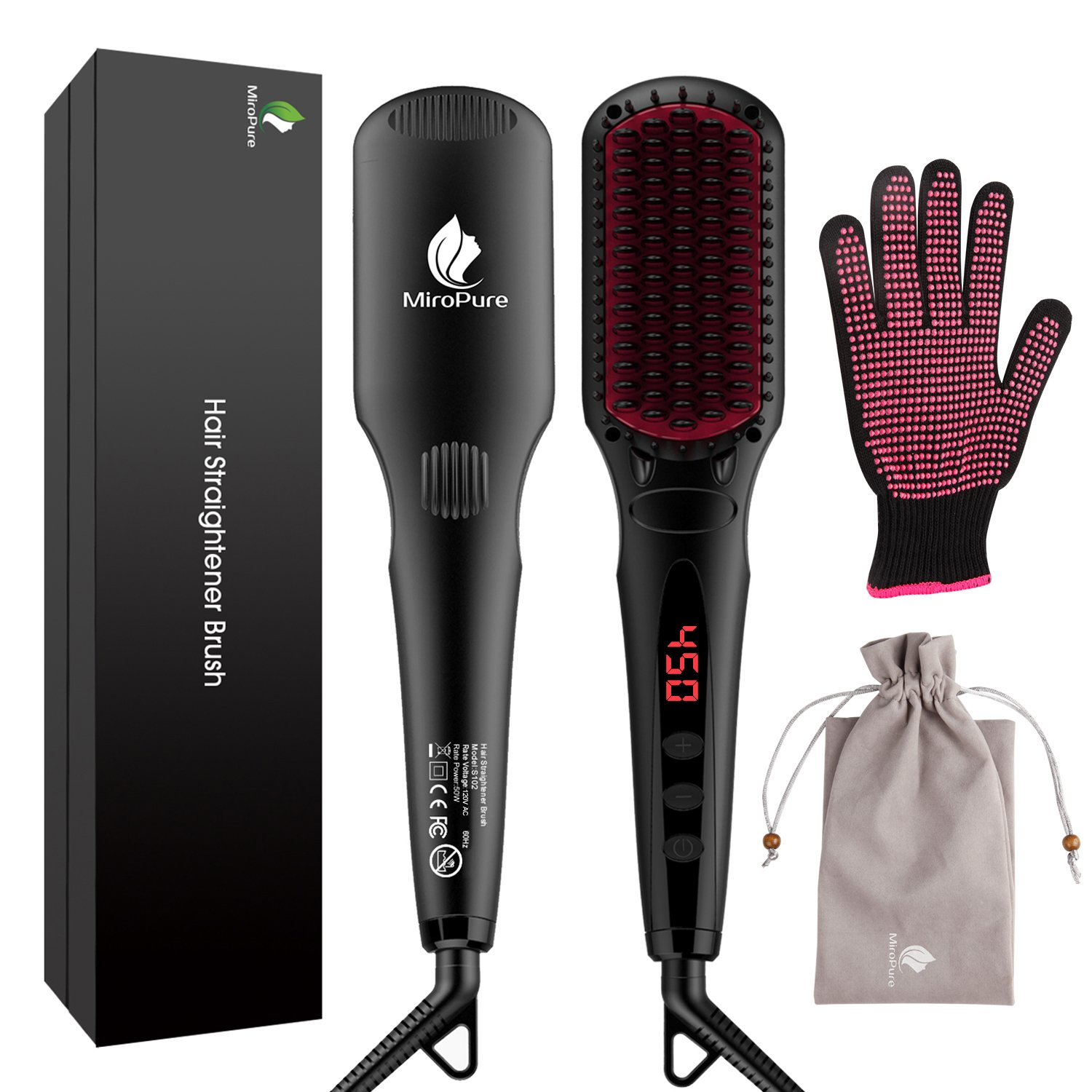 Enhanced Hair Straightener Brush by MiroPure, 2-in-1 Ionic Straightening Brush with Anti-Scald Feature, Auto Temperature Lock and Auto-off Function (Black)