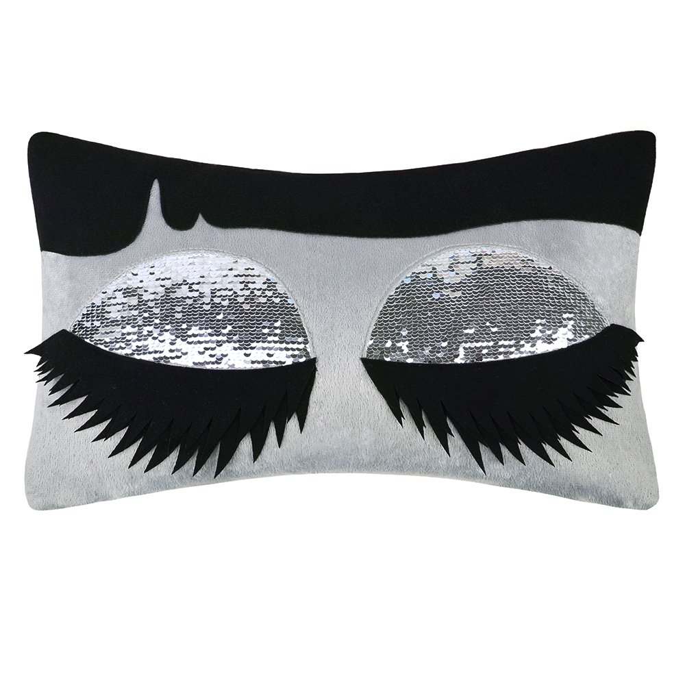 King Rose Long Eyelashes Throw Pillow Cover Silver Sequins Decorative Pillowcase Rectangle Cushion Cover for Girls Bed Living Room 12 x 18 Inches