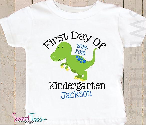 e7827e846 Amazon.com: Kindergarten Shirt First Day Of Kindergarten Shirt Personalized  Toddler Shirt Preschool Shirt Dinosaur Gift Kids Back to School Shirt:  Handmade