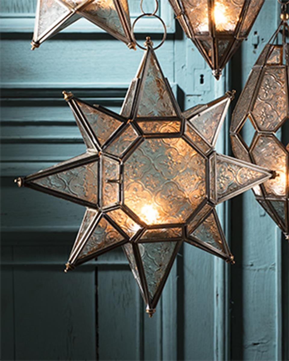 Large moroccan style hanging star glass lantern Namaste