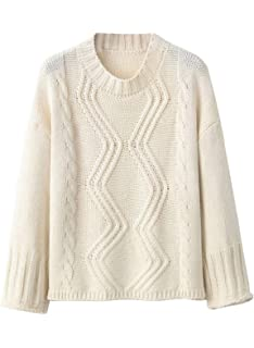 8cc28579f1 Doballa Women s Solid Round Neck Long Sleeve Cable Knitted Twist Pullover  Sweater