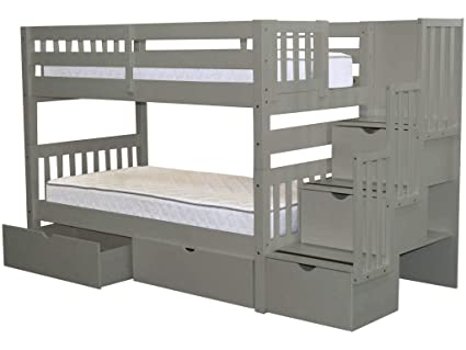 9e4c32579031ad Image Unavailable. Image not available for. Color: Bedz King Stairway Bunk  Beds Twin over Twin with 3 Drawers in the Steps and 2