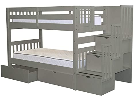 size 40 e6f63 4041e Bedz King Stairway Bunk Beds Twin over Twin with 3 Drawers in the Steps and  2 Under Bed Drawers, Gray