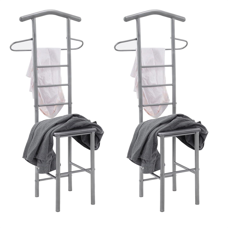 CARO-M/öbel Herrendiener 2er-Set JIVO Kleiderst/änder Garderobenst/änder Metall und MDF in buchefarben