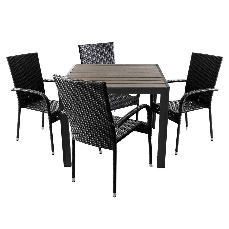 5tlg Gartenmöbel Set Gartentisch Aluminium Mit Polywood Tischplatte