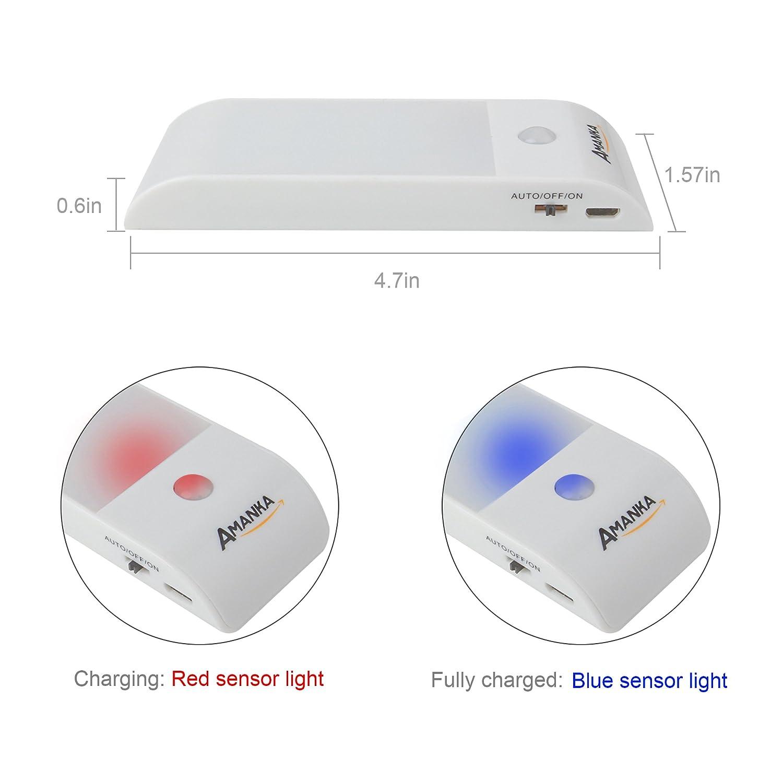 AMANKA Lámpara Nocturna Luces Led con Sensor de Movimiento 12LED Luz Recargable USB con 3 Modos Cinta Adhesiva Magnética Luz Inalambrica Cálida para Armario ...