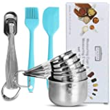 Measuring Cups and Spoons Set of 14, Heavy Duty 18/8 Stainless Steel, Accurate Tool for Cooking and Baking, Suitable for Dry or Liquid Ingredients, Narrow Shape For Tiny Jars