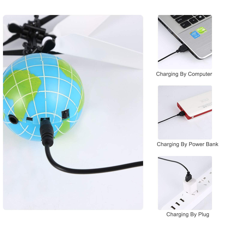 M/ädchen und Jugendliche Fliegender Ball Spielzeug Ferngesteuerter Hubschrauber Hand Infrarot Induktion Drohne Erde Ball eingebaute Bunte LED-Lichter f/ür Jungen