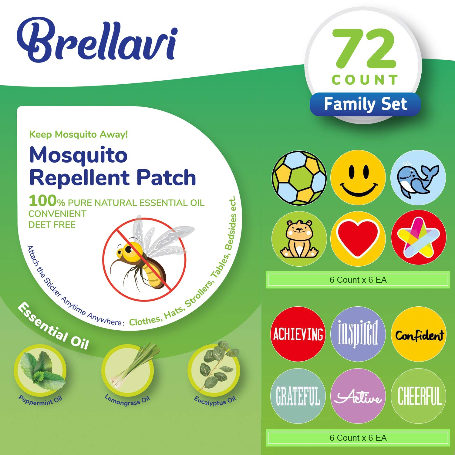 72 Count Mosquito Repellent Patches, Deet-Free Mosquito Repellent Patches, Natural Essential Oil Mosquito Repellent Stickers, Best Mosquito Repellent Patches for Family by Brellavi