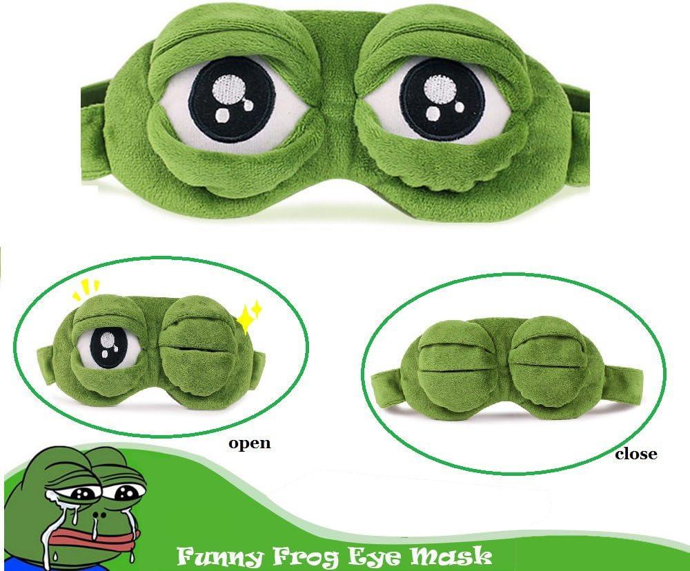 Apanphy® Máscara del sueño, Pelusa Dormir Divertido ovedad Rana de Dibujos Animados Tapa del Ojo Visera máscara de Viaje del sueño Sleep Mask (Verde)
