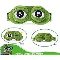 Bllomsem Augenmaske Schlaf, Flusen Karikatur Frosch Augen Maske Schlafen Lustige Neuheit Augen Abdeckung Eyeshade Schlaf Reise Maske (Grün)