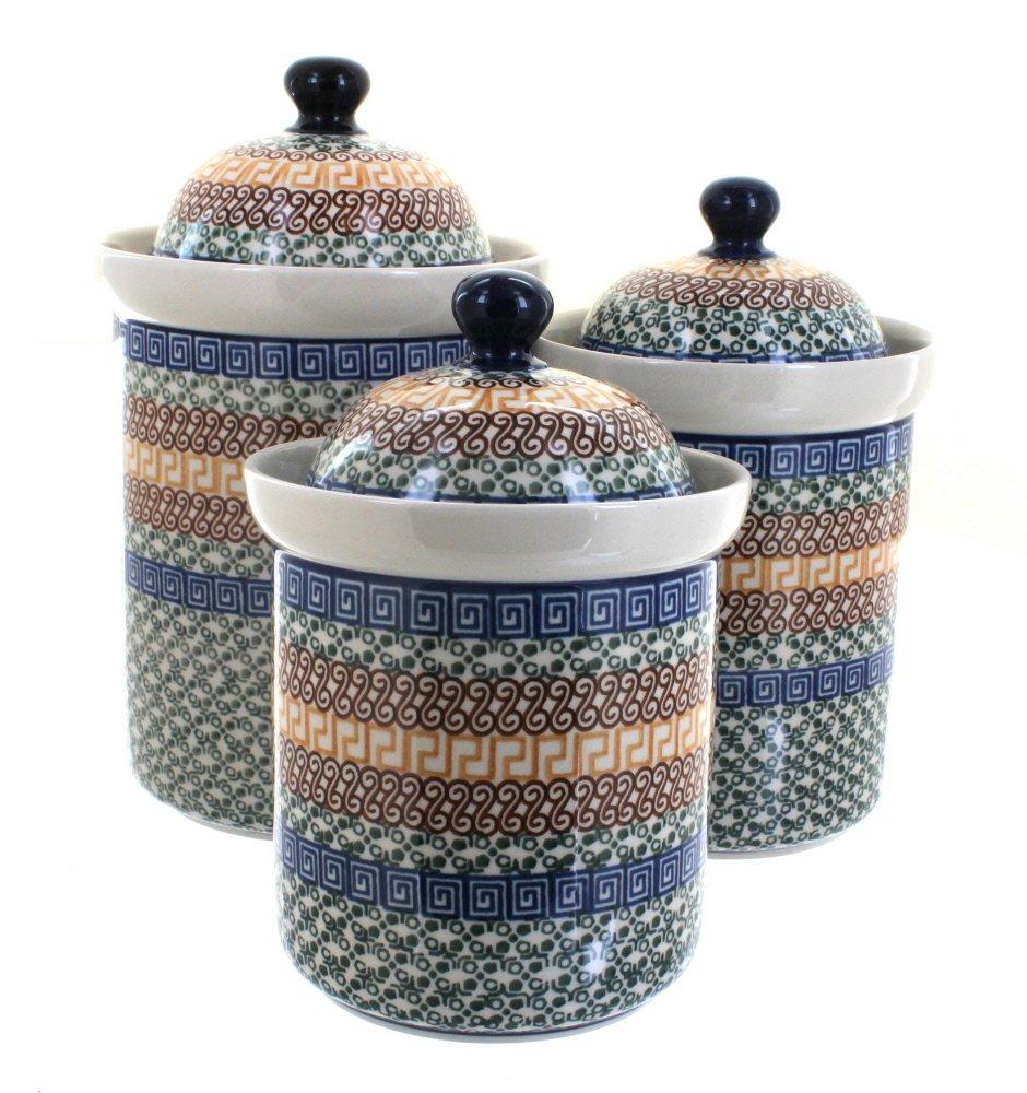 Polish Pottery Athena 3 Piece Canister Set