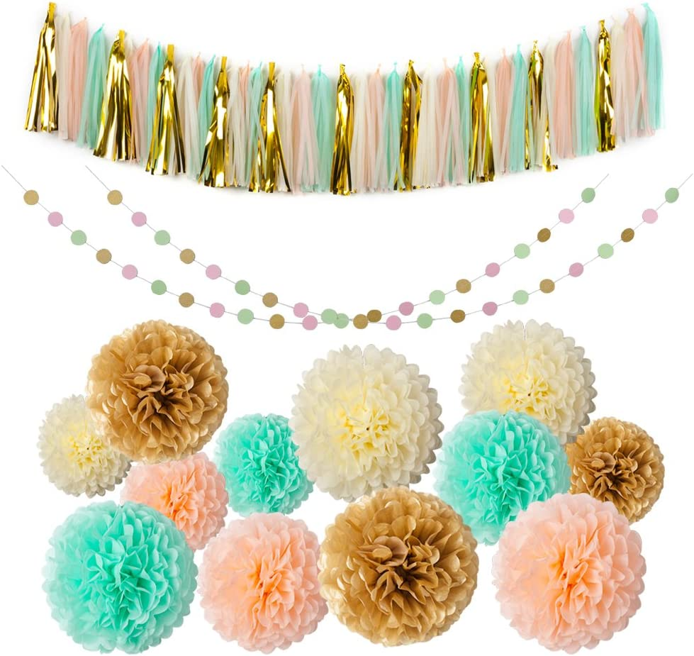 Mint Gold Glitter Peach Cream Tissue Pom Poms 54 Pcs Paper Flowers Tissue Tassel Paper Garland Kit for Baby Shower Party Wedding Birthday Decorations