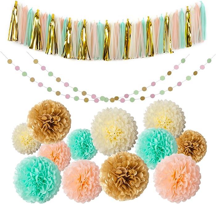Mint Gold Glitter Peach Cream Tissue Pom Poms 54 Pcs Paper Flowers Tissue Tassel Paper Garland Kit for Baby Shower Party Wedding Birthday Decorations