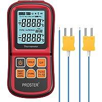 Proster Termómetro Digital de Doble Canal con Dos termómetros de Temperatura Tipo K con retroiluminación LCD para…