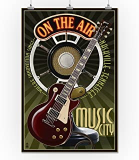 product image for Lantern Press Nashville, Tennesseee - Guitar and Microphone (24x36 Print, Wall Decor Travel Poster)