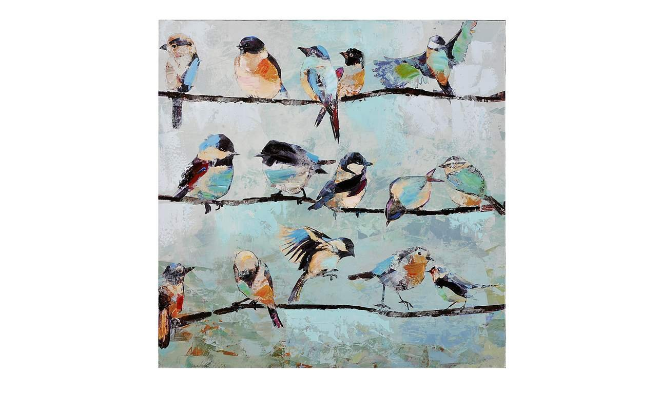 Amazon.com: Gift Craft Stretched Canvas Print, Birds on Wire ...