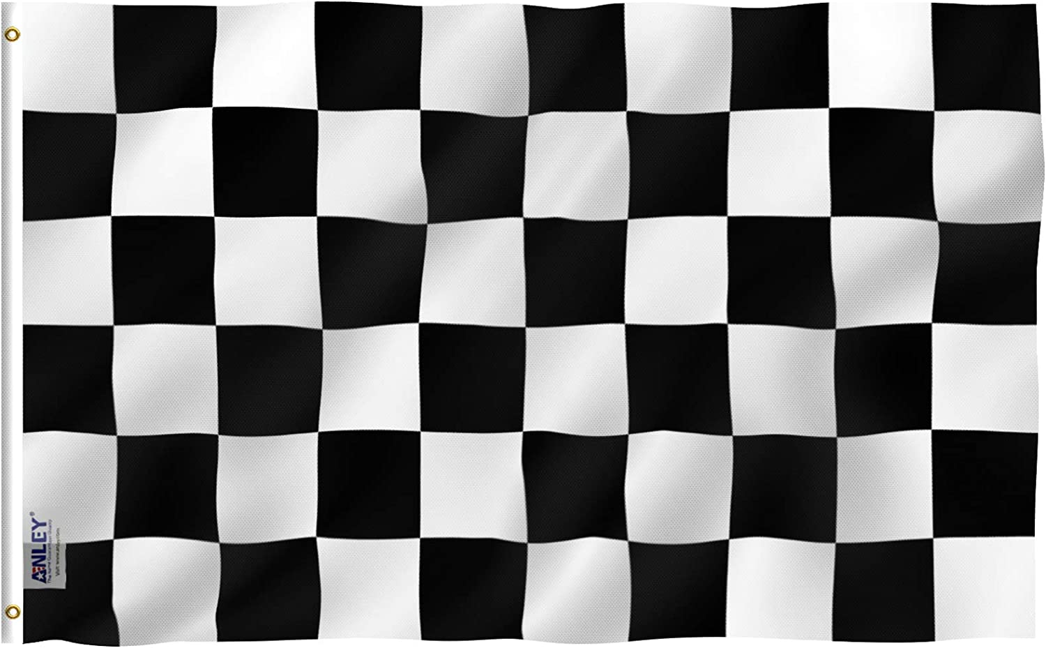 Anley Fly Breeze 3x5 Foot Checkered Flag - Vivid Color and Fade Proof - Canvas Header and Double Stitched - Black and White Racing Flags Polyester with Brass Grommets 3 X 5 Ft