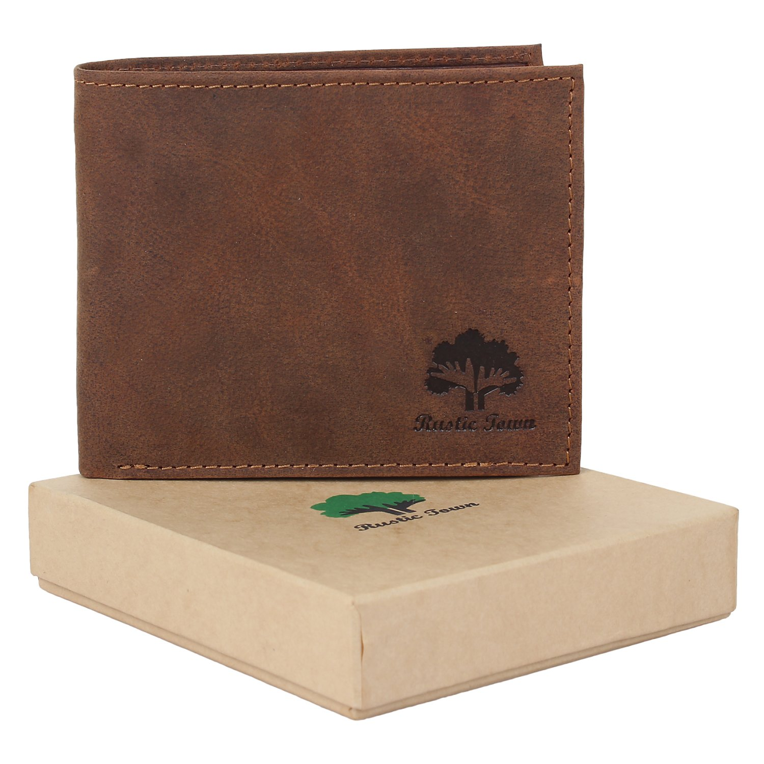 Rustic Town  Rfid Blocking Leather Wallet Mens - Genuine Leather Card Holder Gifts for Men