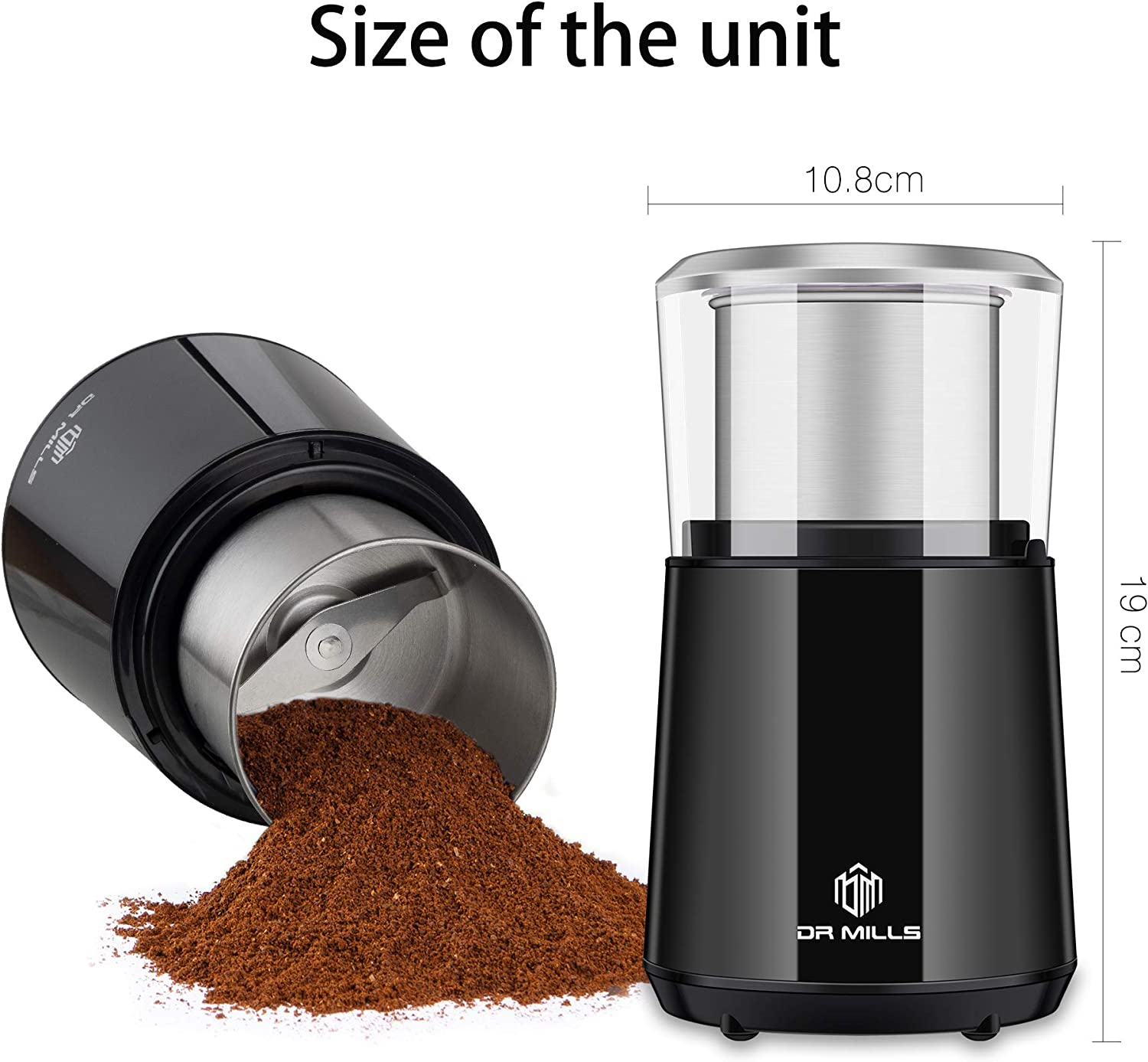 Blade /& cup made with SUS304 stianlees steel DR MILLS DM-7451 Electric Dried Spice and Coffee Grinder,detachable cup OK for clean it with water