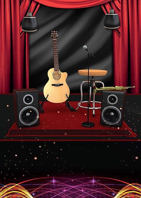 SPGE303 LELEZ - Cortina de telón de fondo para guitarra, karaoke ...