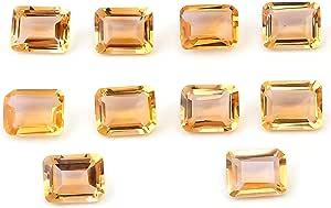 eGemCart Natural Citrino 9X7mm de Forma Octagone Facetas Cortar la Piedra Preciosa Floja para la fabricación de Joyas | Calidad AAA tamaño calibrado 1mm a 10mm Octagone Piedra semipreciosa
