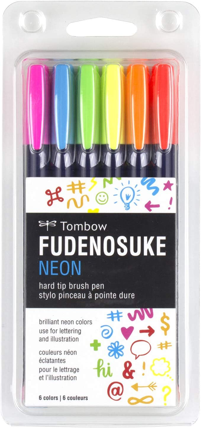 Fudenosuke Brush Pen Flexible Soft Hard Tip Calligraphy Art Drawings 2 Packs
