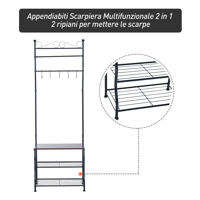homcom Stand Appendiabiti Attaccapanni per Ingresso Scarpiera a 2 Ripiani 5 Ganci Metallo 60 /× 35 /× 175cm Bianco