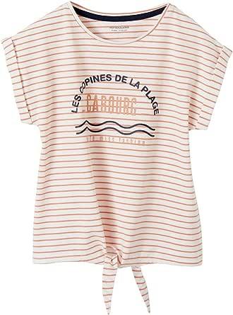 Vertbaudet - Camiseta de rayas para niña, diseño iridiscente y lazo de fantasía
