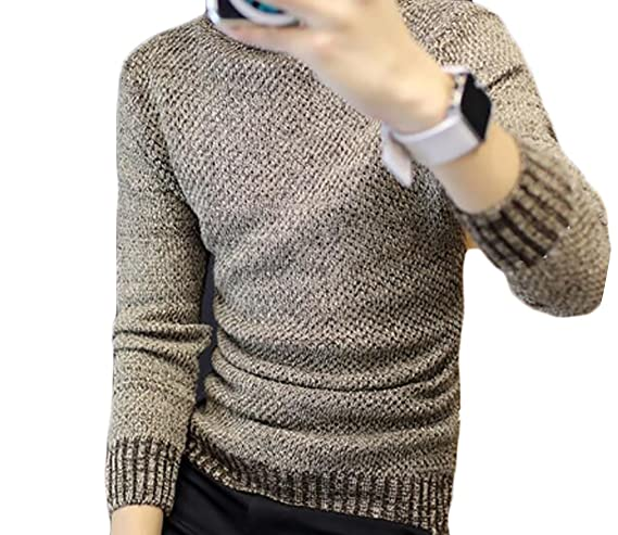 GRMO Men Plus Size Plus Size Fashion Turtle Neck Solid Slim Fit Knitted Pullover Sweater