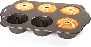 Norpro Nonstick 6 Cup Mini Angel Food Bundt Cake Kitchen Bake Pan, 17in/43cm x 11in/28cm x 2.25in/5.5cm, As Shown