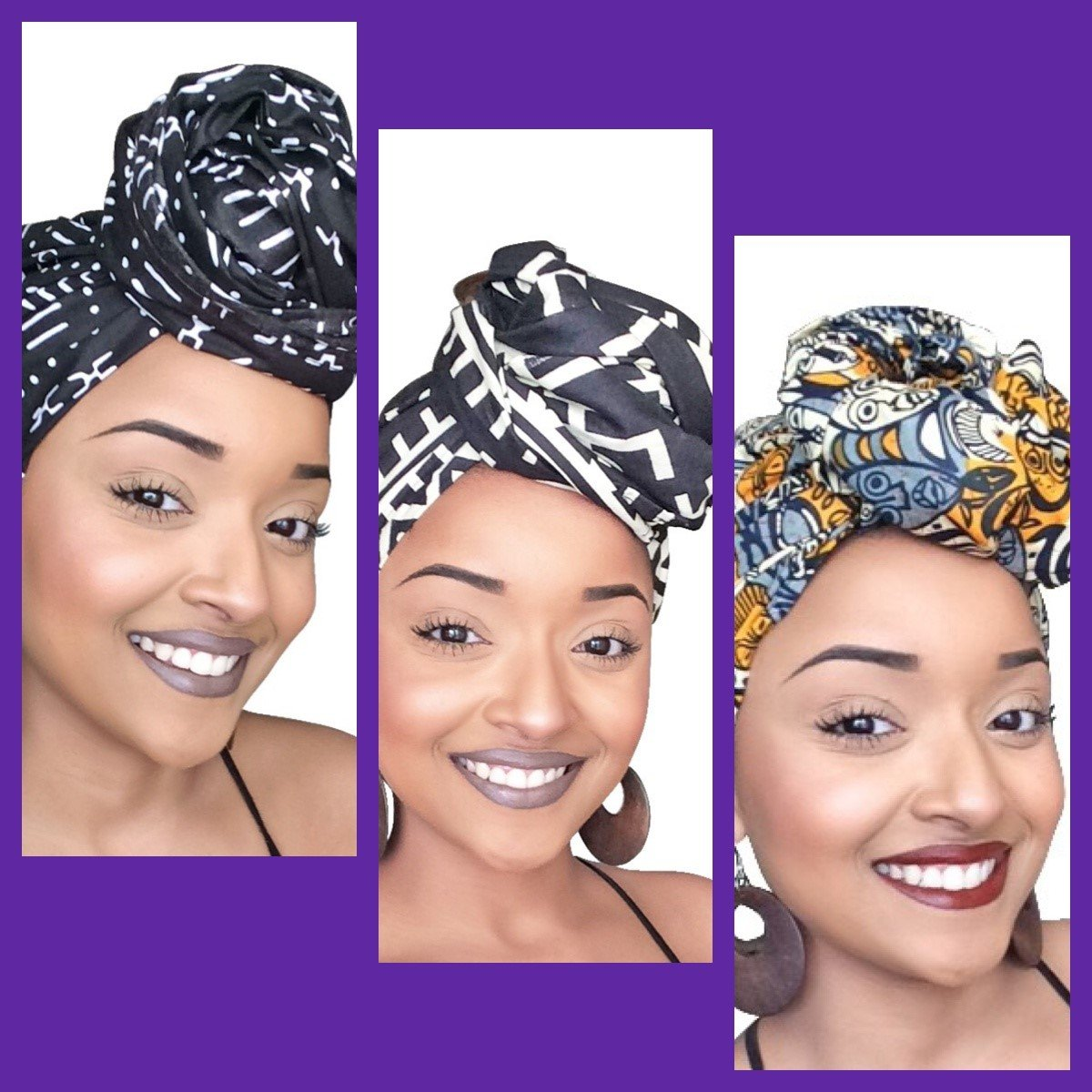 Hasini Empress African Headwrap Collection ( 3 headwraps) by Glamorous Chicks Cosmetics (Image #1)