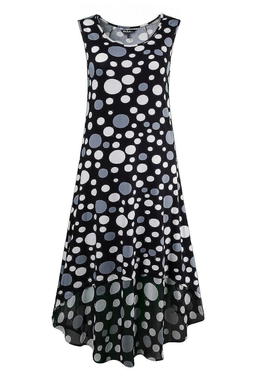 Ulla Popken Damen große Größen | Kleid mit Chiffoneinsatz | Ärmellos | Rundhalsausschnitt | bis Größe 58+ | 702961