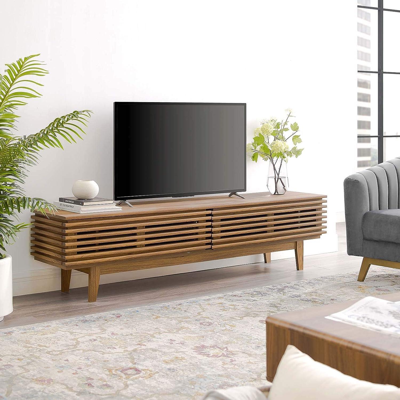 "Modway Render 71"" Mid-Century Modern Low Profile TV Stand in Walnut"